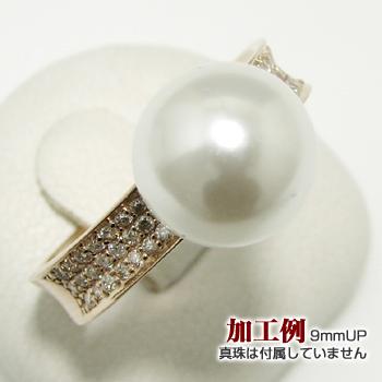 「シンプルパヴェダイヤリング枠(指輪金具)(K18PG)」(真珠用)[n5]