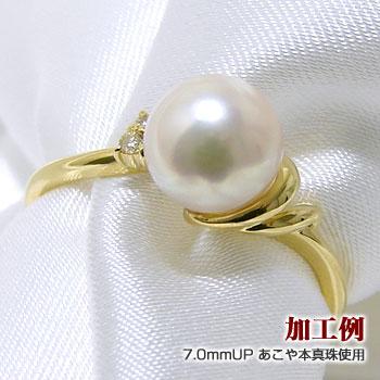 「ダイヤ付きダブルラインリング枠(指輪金具)(K18)」(真珠用)[n5]