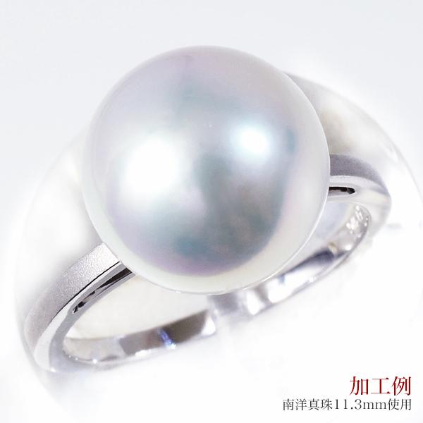 「ツヤ消し加工がシックなリング枠(指輪金具)K18WG」(真珠用)[n5]