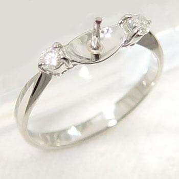 2石ダイヤ リング枠(指輪金具) Pt900 プラチナ 0.15ct (8~10mm珠対応) [n4](真珠 加工用)