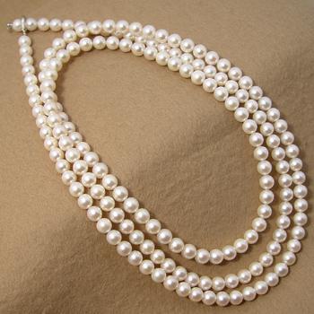 あこや真珠 クリッカー付 ロングパールネックレス 120cm ホワイト系 7.0-7.5mm B~CCB~C クリッカー(silver) [120cm ロング][n4](真珠 ネックレス)(冠婚葬祭 フォーマル 入学式 卒業式 成人式)