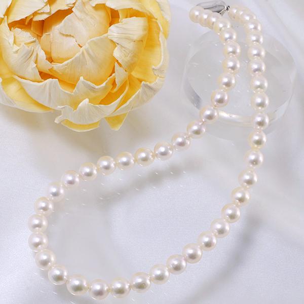 在庫限り◆ あこや本真珠 パールネックレス 8.0-8.5mm BBB ホワイト系 セミラウンド ビーンズクラスプ(silver)[HS][n2](真珠 ネックレス)(冠婚葬祭 フォーマル 入学式 卒業式 成人式)