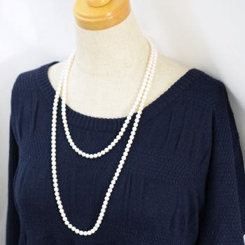 あこや真珠 ロングパールネックレス 120cm ホワイト系 5.5-6.0mm ラウンド パックマンクラスプ(silver)[n4][120cm ロング](真珠 ネックレス)(フォーマル パーティ 入学式 卒業式)