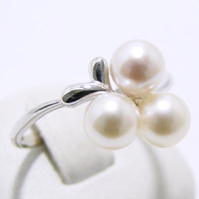 あこや真珠 3粒パールリング(指輪) ホワイト系 5.5-6.0mm BBB K14WG ホワイトゴールド[n5](本真珠 リング)(普段使い 大人カジュアル おしゃれ)