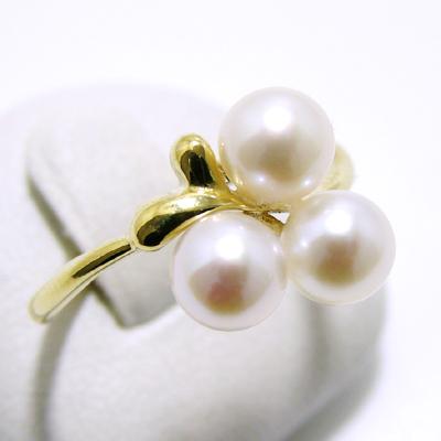 あこや真珠 3粒パールリング(指輪) ホワイト系 5.5-6.0mm BBB K18 ゴールド[n5](本真珠 リング)(普段使い 大人カジュアル おしゃれ)
