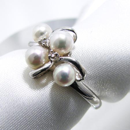 【受注発注品】あこや本真珠 4粒 ベビーパールリング(指輪) ホワイト系 4.0-4.5mm A~BA~BA~B  0.02ct K18WG ホワイトゴールド[n6](冠婚葬祭 フォーマル 入学式 卒業式 パーティ)