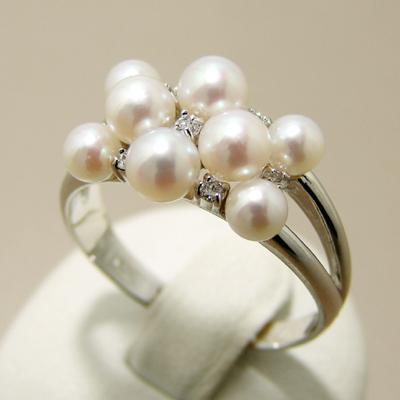 【受注発注品】あこや本真珠 8粒 ベビーパールリング(指輪) ホワイト系 3.5-4.5mm AAA~B 0.10ct K18WG ホワイトゴールド[n6](冠婚葬祭 フォーマル 入学式 卒業式 パーティ)