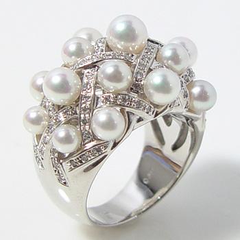 【受注発注品】あこや本真珠 17粒 ゴージャス ベビーパールリング(指輪) ホワイト系 2.5~3.5mm AAB K18WG ホワイトゴールド[n6](冠婚葬祭 フォーマル 入学式 卒業式 パーティ)