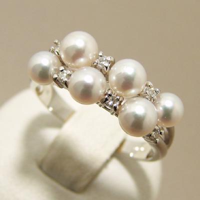 「あこや真珠 ベビーパールリング(指輪)[D] パールホワイト系 3.5-5.0mm AAA~B K18WG」[n5](冠婚葬祭 フォーマル 入学式 卒業式 成人式)