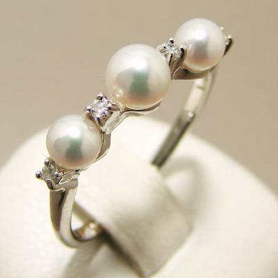 「あこや真珠 ベビーパールリング(指輪)[C] パールホワイト系 3.5-4.5mm AAA~B K18WG」[n5](冠婚葬祭 フォーマル 入学式 卒業式 成人式)