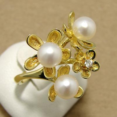 【受注発注品】あこや本真珠 フラワーブーケ パールリング(指輪) ホワイト系 5.5-6.0mm BBB 0.03ct K18 ゴールド [n6](真珠 リング)(パーティ 普段使い)