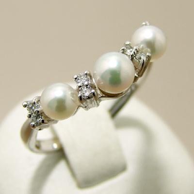 「あこや真珠 ベビーパールリング(指輪)[E] パールホワイト系 3.5-4.0mm AAA~B K18WG」[n5](冠婚葬祭 フォーマル 入学式 卒業式 成人式)