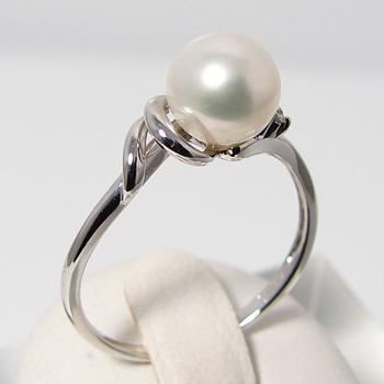 「あこや本真珠 ダブルラインのパールリング(指輪) ホワイト系 7.0-7.5mm BBB K18WG」[n5](冠婚葬祭 フォーマル 入学式 卒業式 成人式)