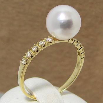 あこや真珠 ラインダイヤ10石 パールリング(指輪) ホワイト系 8.0-8.5mm BBB K18 0.2ct 【受注発注品】[n5](真珠 リング)(冠婚葬祭 フォーマル 入学式 卒業式 成人式)