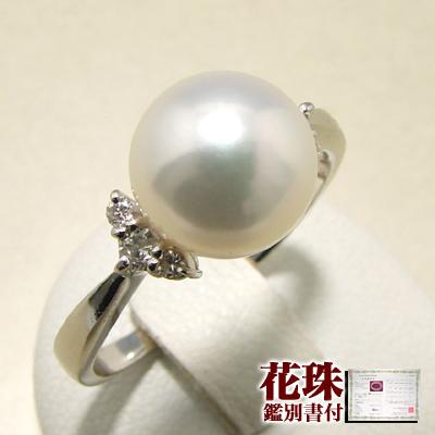 オーロラ花珠真珠 鑑別書付 6石ダイヤが真珠を包む パールリング(指輪) ホワイト系 8.0-8.5mm AAA Pt900 プラチナ 0.11ct 【受注発注品】[n5](あこや本真珠 リング)(冠婚葬祭 フォーマル)