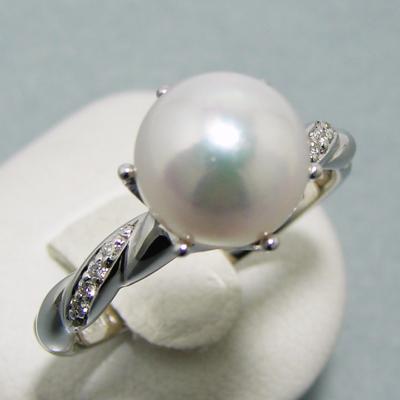 「あこや真珠 パールリング(指輪) ホワイト系 8.0-8.5mm AAB K18WG」[n5](冠婚葬祭 フォーマル 入学式 卒業式 成人式)