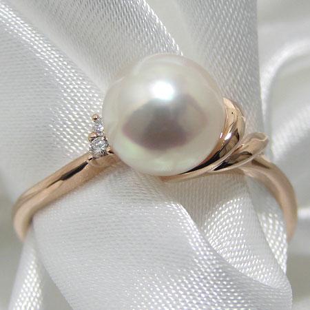 あこや真珠 ダブルライン パールリング(指輪) ホワイト系 7.0-7.5mm BBB K18PG ピンクゴールド 18金 0.02ct 【受注発注品】[n5](真珠 リング おしゃれ)(フォーマル 普段使いに)