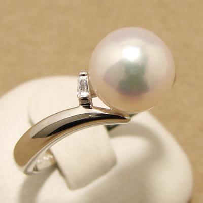 「あこや本真珠 パールリング(指輪) ホワイト系 8.0-8.5mm AAB」プラチナ[n5](冠婚葬祭 フォーマル 入学式 卒業式 成人式)