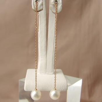 「淡水パール チェーンパールピアス ホワイト系 7.0-7.5mm A~BB~C K18PG」[n5]