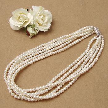 「淡水 5連パールネックレス ホワイト系 4.5-5.0mm A~BB ポテト 並列クラスプ(silver)」[bride][n3](冠婚葬祭 フォーマル 入学式 卒業式 成人式)6月誕生石