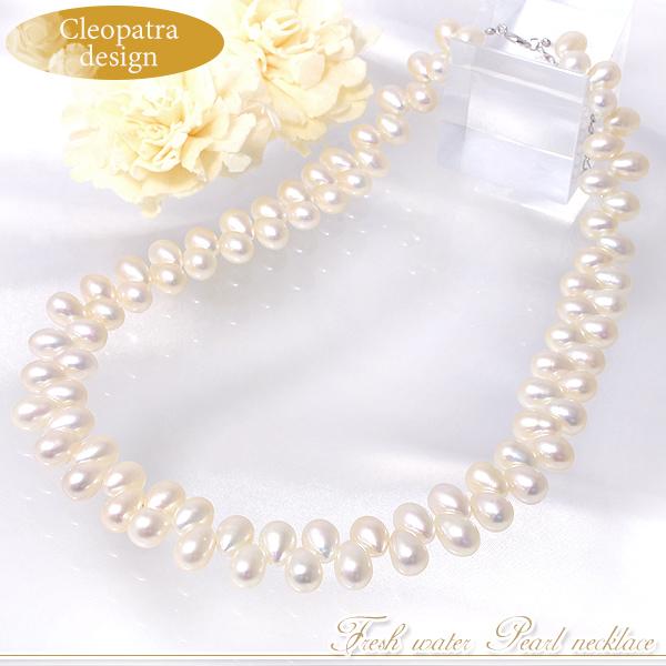 淡水真珠 クレオパトラ パールネックレス ホワイト系 5.5-6.0mm AB~C ドロップ 引き輪(silver) [n3](真珠 ネックレス)(フォーマル パーティ 入学式)6月誕生石