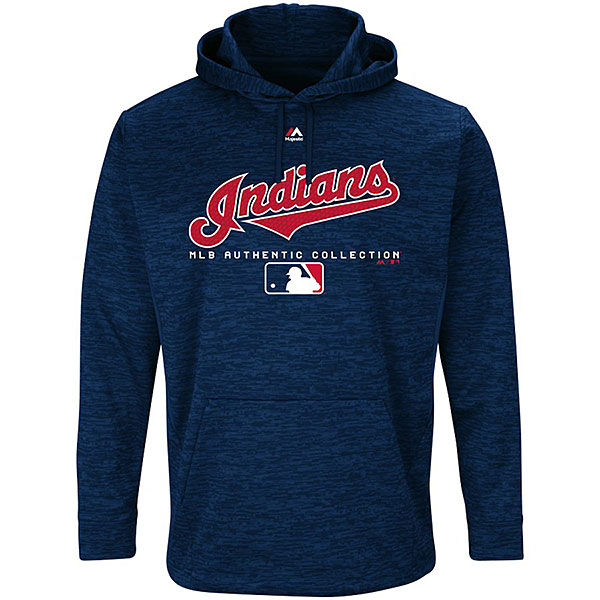 MLBオーセンティックTeam Driveプルオーバー フーディー インディアンス(ネイビー) Majestic Cleveland Indians Navy Authentic Collection Team Drive Pullover Hoodie
