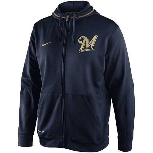 【最終入荷】MLB TKO Therma-FIT フルジップフーディー ブルワーズ(ネイビー) Nike Milwaukee Brewers TKO Therma-FIT Full Zip Hoodie Sweatshirt - Navy Blue