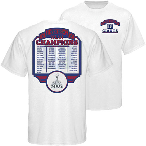 ec53aab41 NFL 46 Super Bowl I champion T shirt New York Giants Reebok New York Giants  Super Bowl XLVI Champions Roster T-Shirt
