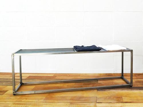 【ショップ什器】職人ハンドメイド!インダストリアル鉄製ディスプレイラックDP-01 Table(カラーシルバー)アパレルディスプレイ店舗什器アンティークレトロ家具販売!W STANDARD《ダブルスタンダード》