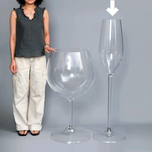 【送料無料】_ディスプレイ用 高さ120cm アクリル製 ジャンボフルートグラス【ワイングラス/カトラリー】【バー/カクテル】 沖縄/離島送料別