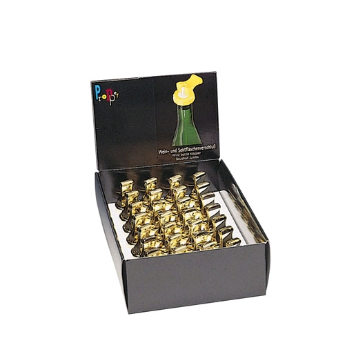 【送料無料】_ドイツ製 ワインボトルストッパー ゴールド ディスプレイボックス 28個入り【ワイングラス/カトラリー】【バー/カクテル】 北海道/沖縄/離島 追加送料あり