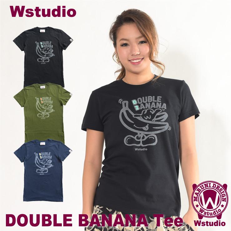 【ネコポス対応】Wstudio ダブルスタジオ【全3色×2サイズ】DOUBLE BANANA Tee フィットネスウェア
