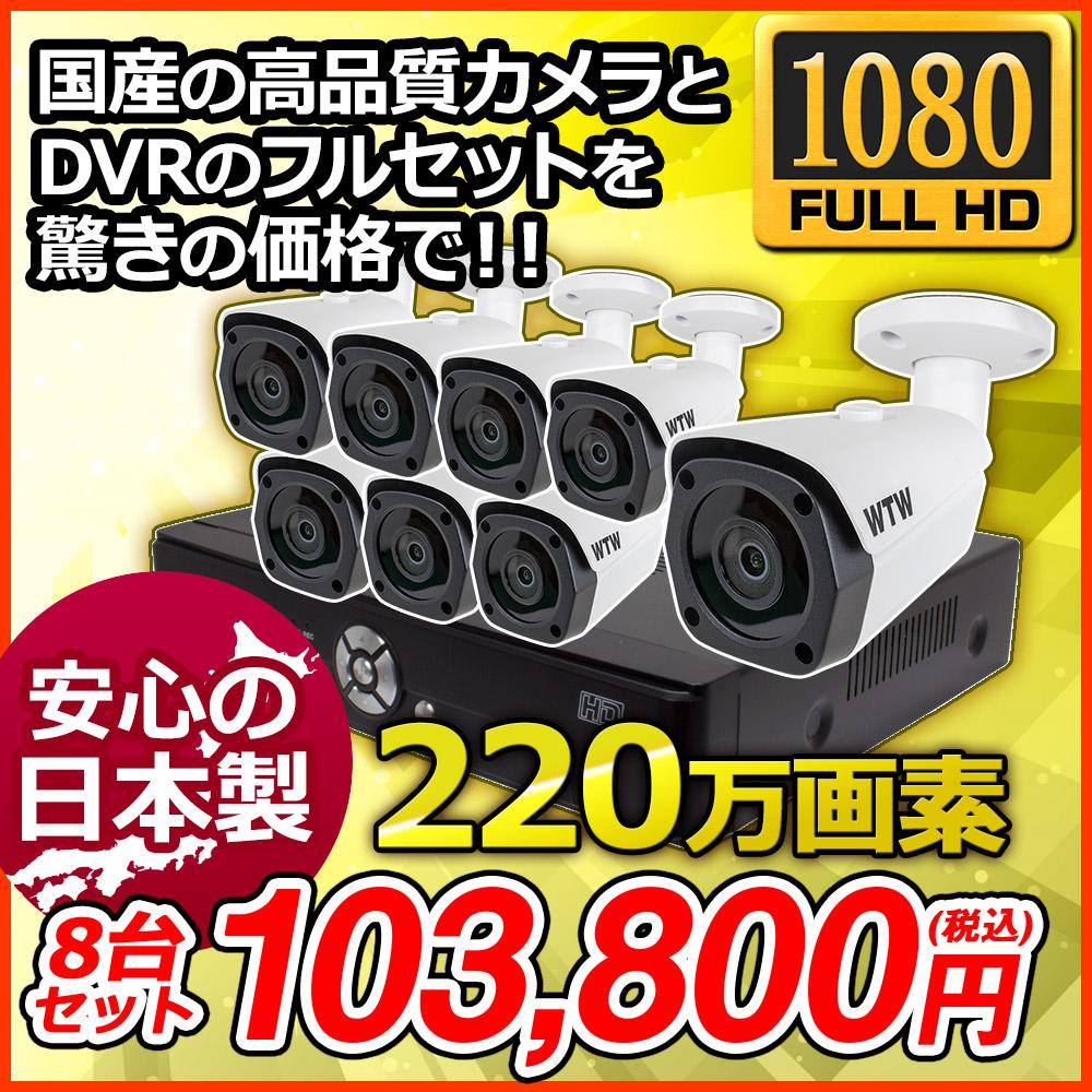 日本製【HD-SDI 220万画素】自社開発・自社製造デジタル放送規格SDIカメラと録画機のセット!1080p対応 16ch DVR 屋外防滴赤外線LED搭載カメラ8台セット 塚本無線が国内サポート・国内修理1年保証![RYA-5H160-1Y-1TB/RYA-HR25B-1Y]