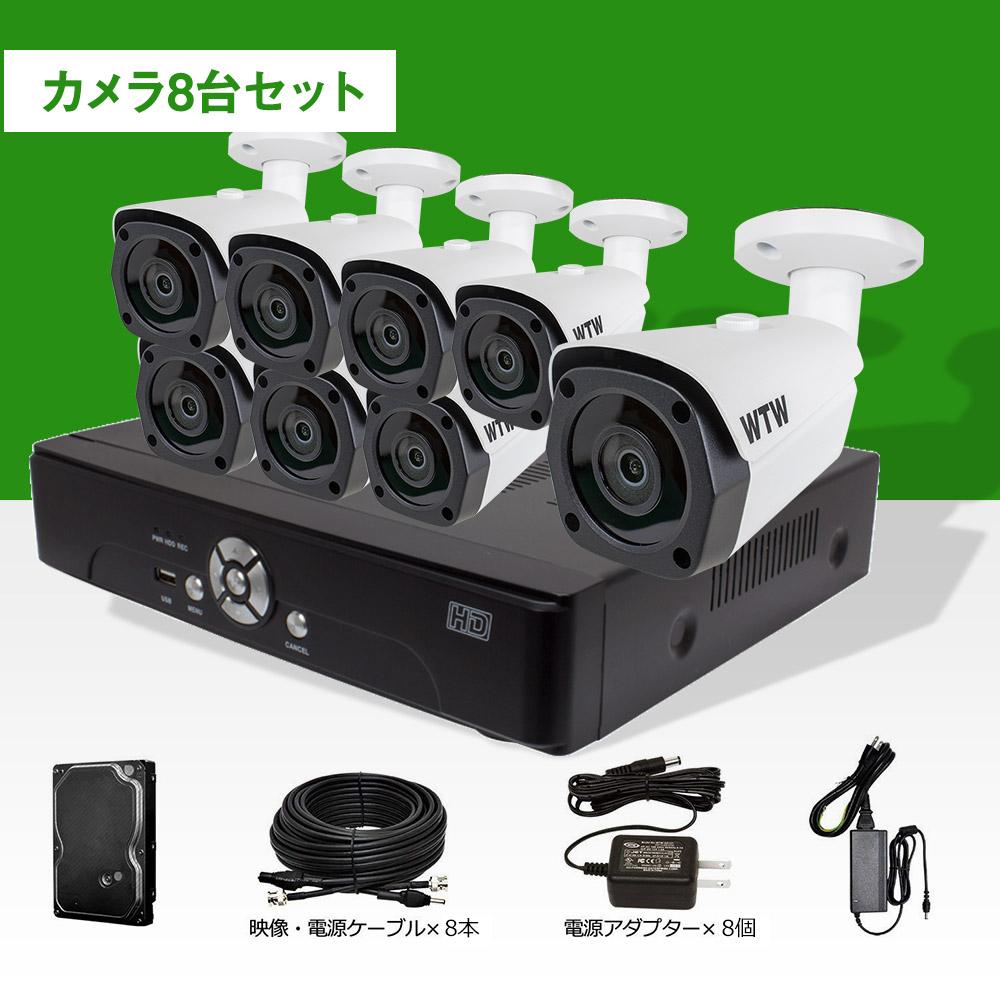 防犯カメラ セット 屋外 日本製【HD-SDI 220万画素】自社開発・自社工場製造 デジタル放送規格SDIカメラと録画機のセット!1080p対応 16ch DVR 夜間監視カメラ8台セット 官公庁納入 監視カメラ