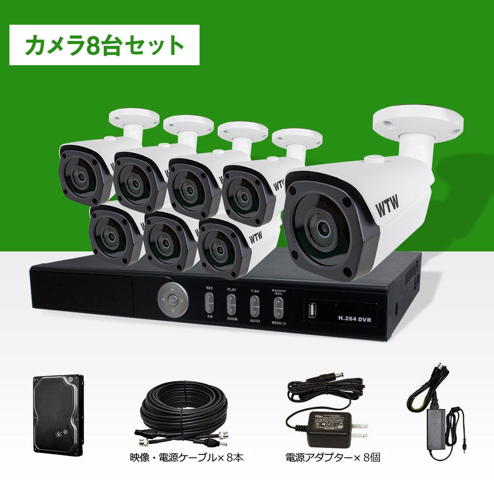 防犯カメラ セット 屋外 日本製【HD-SDI 220万画素】自社開発・自社工場製造デジタル放送規格SDIカメラと録画機のセット!1080p対応 8ch DVR 屋外防滴赤外線LED搭載カメラ8台セット