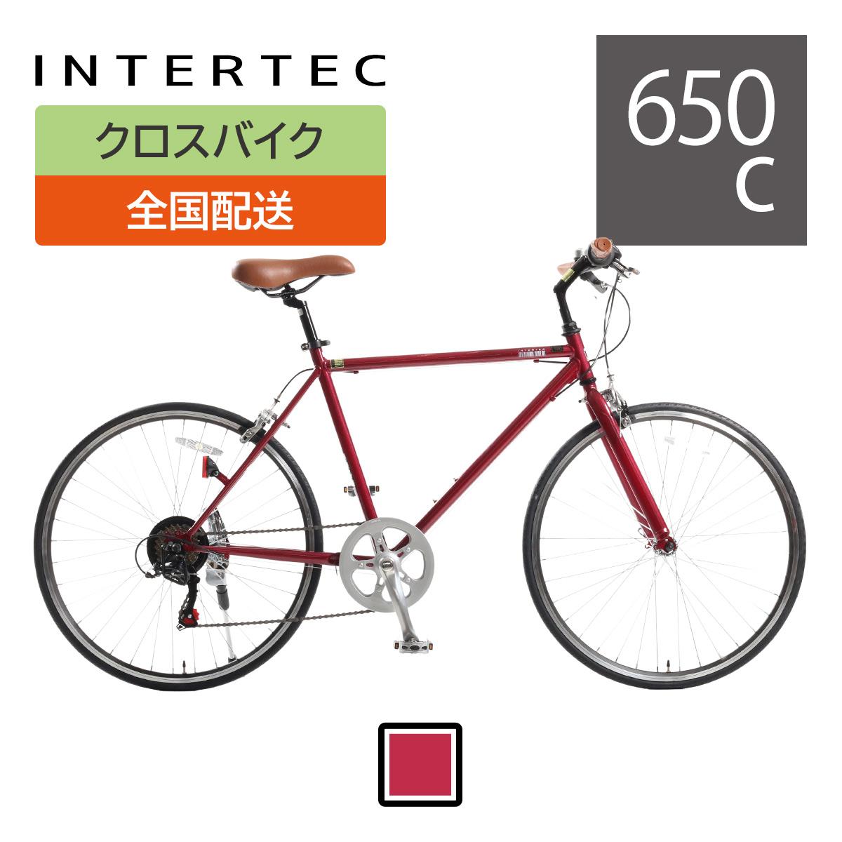 クロスバイク INTER TEC 650×23C 7段変速/グリーン ワイン【中四国・九州送料無料】