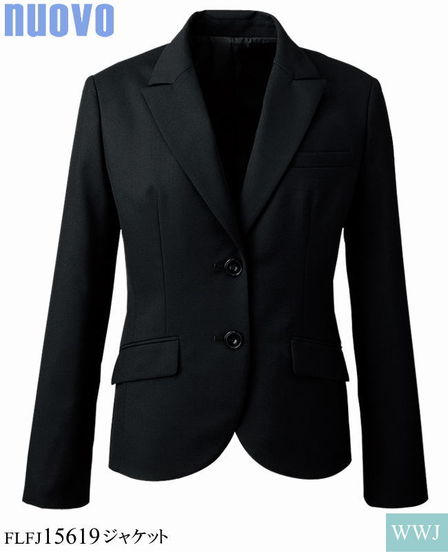 事務服 聡明で凛としたブラック シンプルで洗練されたデザイン ジャケット FOLK FLFJ15619 オールシーズン