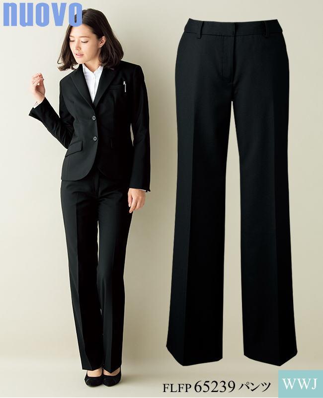 事務服 キレイなライン シンプルデザイン 凛としたブラック パンツ 65239 FOLK FLFP65239 オールシーズン
