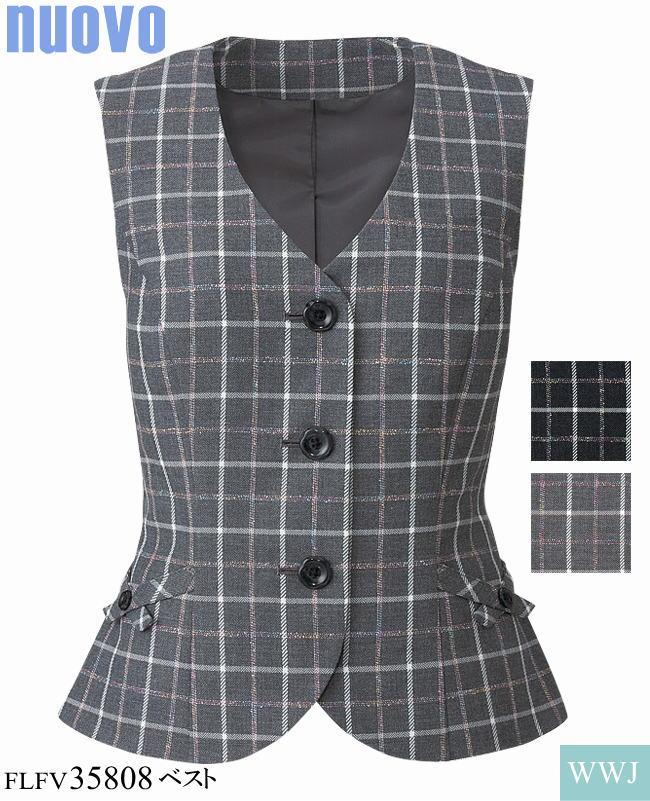 事務服 かすり調チェックの差し色がほどよい上品さをアピール ベスト FOLK FLFV35808 オールシーズン