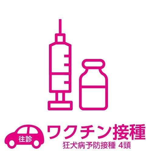【往診サービス】自宅往診基本パック 狂犬病予防接種 4頭