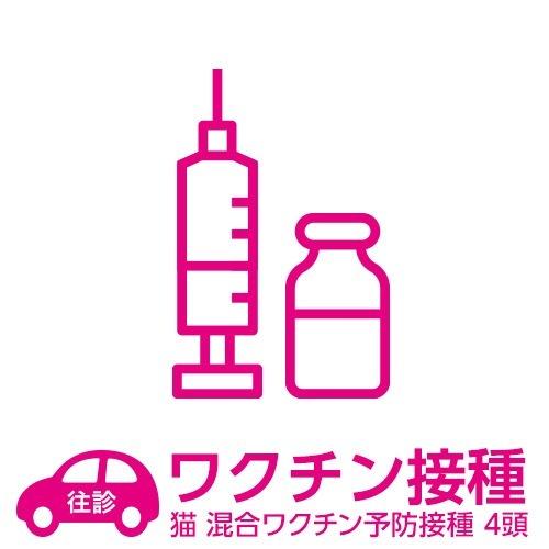 【往診サービス】自宅往診基本パック 猫 混合ワクチン予防接種 4頭