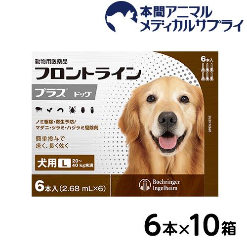 【送料無料】犬用 フロントラインプラス L (20kg~40kg) 10箱 60本入 60ピペット【動物用医薬品】
