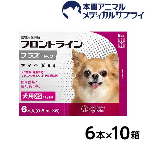 【送料無料】犬用 フロントラインプラス XS (5kg未満用) 10箱 60本入 60ピペット【動物用医薬品】
