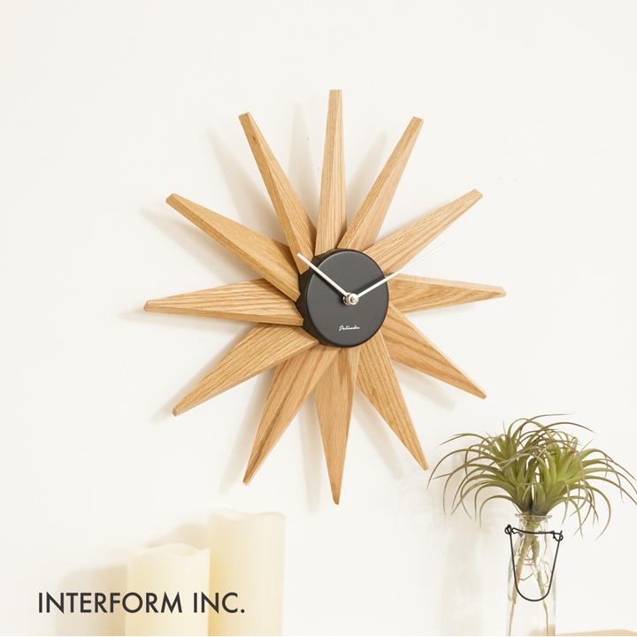 掛け時計 壁時計 おしゃれ 北欧 モダン 木 Fermat フェルマー INTERFORM