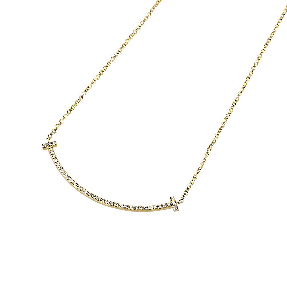ティファニー TIFFANY ネックレス 34684456 【tiffany-Tスマイル】 (ミニ) 18Kゴールド ダイヤモンド0.1ct