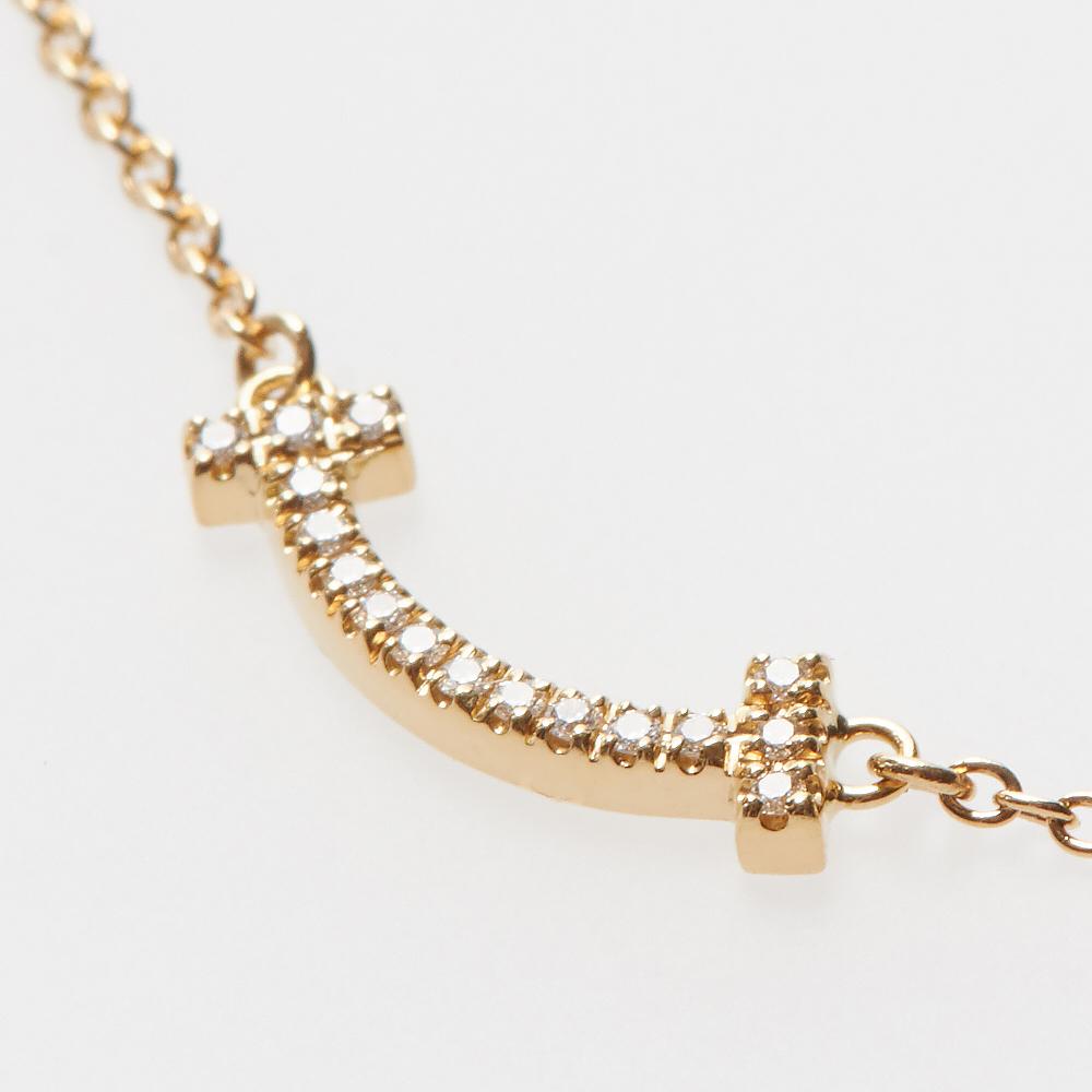 ティファニー TIFFANY ネックレス Tスマイル マイクロ 62617691 ペンダント 18K ダイヤモンド 0.03ct ゴールド
