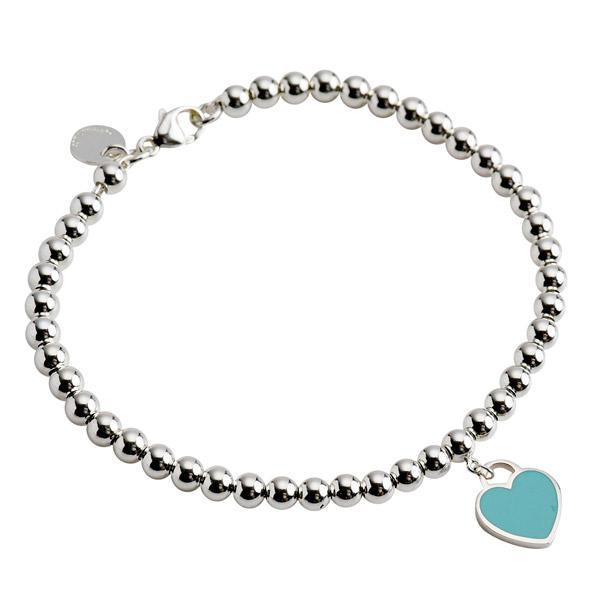 Tiffany Bracelets Return To Mini Heart Tags Bead Bracelet Blue Enamel Silver 26659604 Co