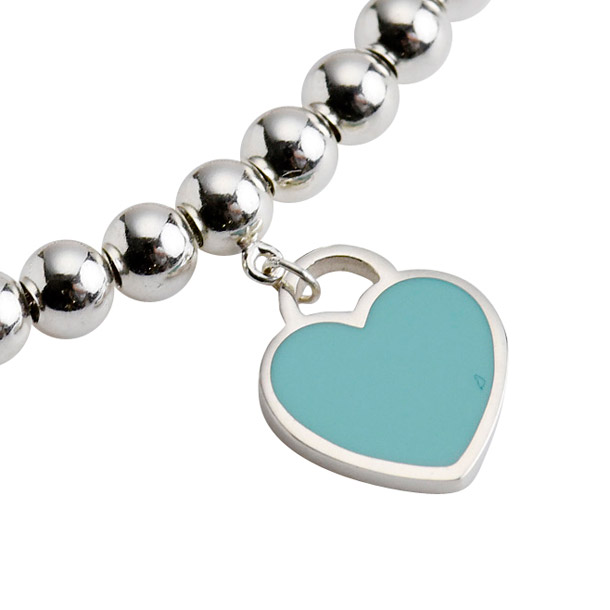 7e2a39df8 ... Tiffany bracelet TIFFANY return toe mini-heart tag beads bracelet blue  enamel silver 26659604 ...