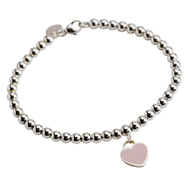 6b38cda59 Tiffany bracelet TIFFANY return toe mini-heart tag beads bracelet pink  enamel silver 30978811 ...
