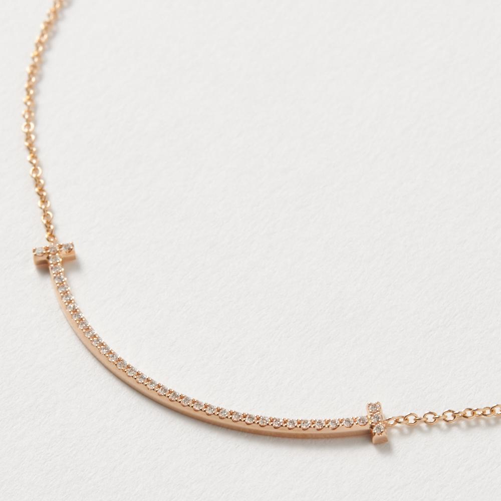 ティファニー TIFFANY ネックレス Tスマイル ダイヤモンド 0.10ct ミニ 18Kローズゴールド 34684421